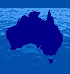 australian silhouette ocean map vector image