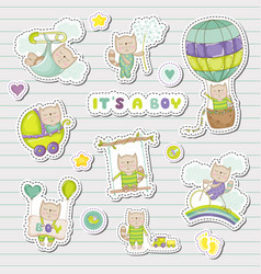 Baby boy stickers for shower party vector