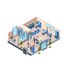 Bank interior isometric business financial vector