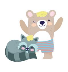 bashower cute bear with short pants raccoon vector image