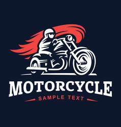 Biker fire motorcycle retro emblem and label vector