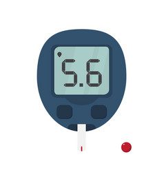 Blood glucose meter with test strip and drop of vector