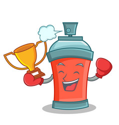 Boxing winner aerosol spray can character cartoon vector