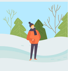 boy wearing warm clothes on background of winter vector image