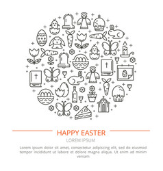 Brochure with icons of easter vector