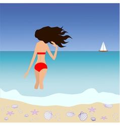 Brunette woman standing at tropic seashore vector