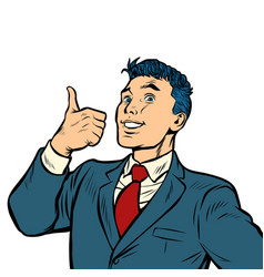 businessman smile thumb up like gesture isolate on vector image