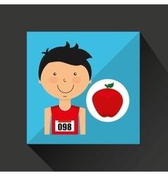 Cartoon boy athlete with apple vector