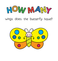 cartoon butterfly counting game for kids vector image