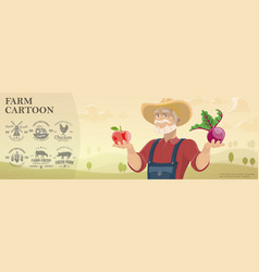cartoon farm and agriculture background vector image