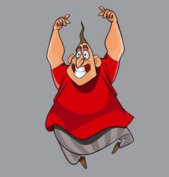 cartoon funny cheerful fat man happily jumping vector image