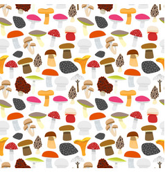 Cartoon mushrooms background pattern vector