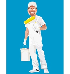 Cartoon smiling man painter with tools vector