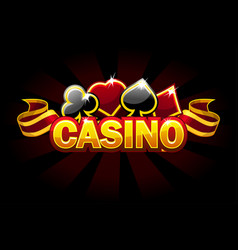 casino background logo with game card signs vector image