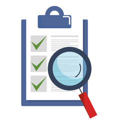 Checklist document with magnifying glass vector