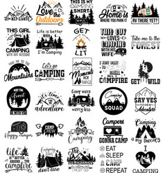 collection camping phrases slogans or quotes vector image
