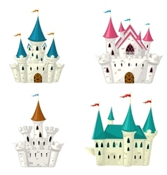 Collection of cartoon fairytale castle vector image
