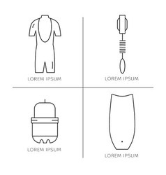 Collection of surfing goods iconsLine icons vector