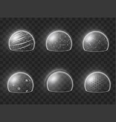 Collection realistic bubble shield vector