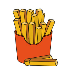 Color image cartoon box with french fries vector