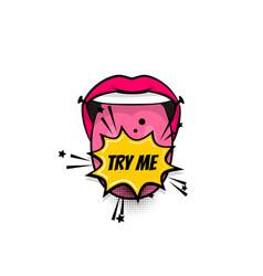 comic text pop art tongue mouth girl power vector image