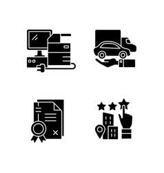 Company image black glyph icons set on white space vector