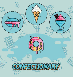 confectionary flat concept icons vector image
