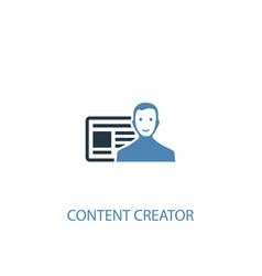 content creator concept 2 colored icon simple vector image