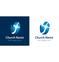 Cross on hand church logo concept vector