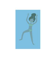 cute young girl in yellow swimwear swimming vector image