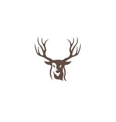 deer head hunt with big horns logo design vector image