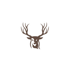 deer hunt with big horns logo vector image