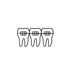 dental braces hand drawn outline doodle icon vector image