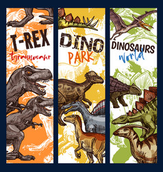 Dinosaur park banner with jurassic animal sketch vector
