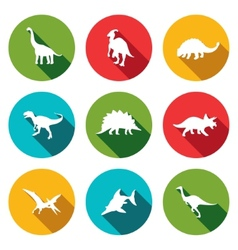 Dinosaurs flat icons set vector image