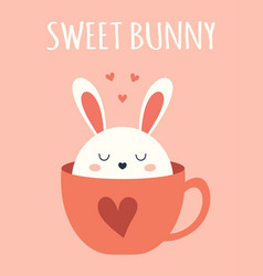easter card with rabbit in cup vector image
