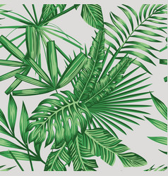 Exotic tropical leaves seamless pattern vector