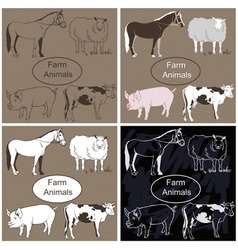 Farm animals on dark background vector