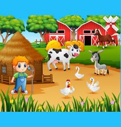 farmer and farm animal in the farmyard vector image