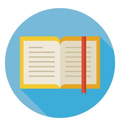Flat Open Book with Bookmark Circle Icon with Long vector