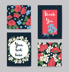 Floral greeting cards set vector