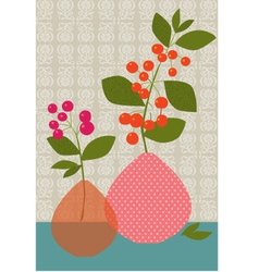 Flowers berries vases vector
