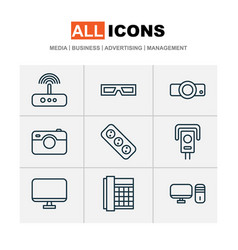 Gadget icons set includes icons such as switch vector