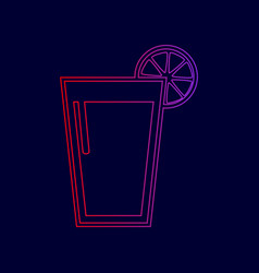 glass of juice icons line icon with vector image
