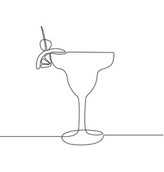 glass with cocktail continuous one line vector image