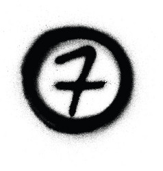 graffiti number seven 7 in circle sprayed vector image