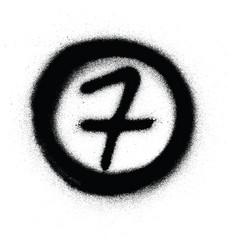 Graffiti number seven 7 in circle sprayed vector