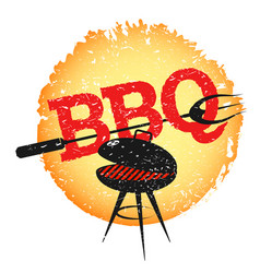 grill with barbecue fork vector image