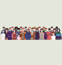 group people wearing protective medical masks f vector image