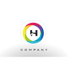H letter logo with rainbow circle design vector